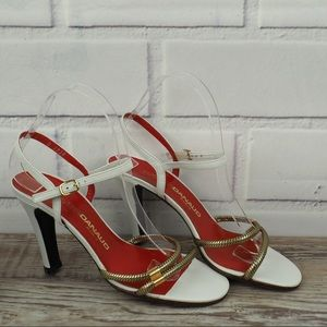 Vintage Xavier Danaud white gold heeled sandals 7